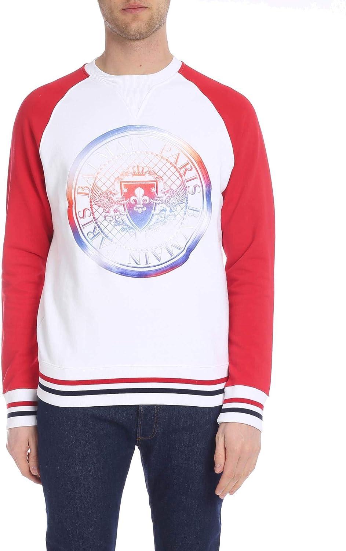 Balmain Men's RH03279142AAA White Cotton Sweatshirt
