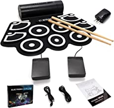 Costzon 9 Pad Electronic Roll Up Drum Kit, USB MIDI With Built-in Speakers, Foot Pedals, Drum Sticks, Power Supply (Without LED light)