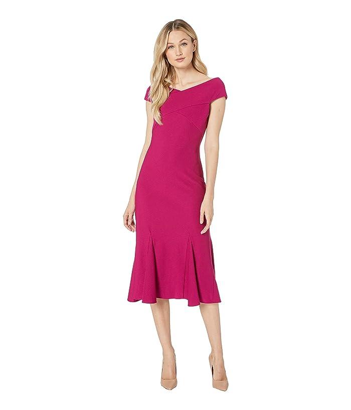 Adrianna Papell Daphne Ottoman Midi Flounce Dress (Berry Gem) Women