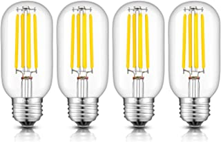 CRLight 5W LED Tubular Bulb 4000K Daylight White 550LM Dimmable, 55W Incandescent Equivalent, Replace 10W Compact Fluorescent CFL Bulbs, E26 Medium Base T45 LED Filament Bulbs, 4 Pack