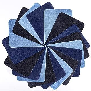 Iron On Denim Patches, 18 PCS DIY Decorative Sticker Cotton Reparing for Clothing Jeans 3 Colors (5