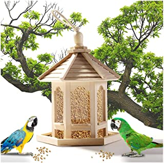 Hide on bush Cedar Bird Feeder, Gazebo with Plastic Transparent Tube Lantern,Wood Bird Feeder Hexagon Shaped with Roof, Pavilion Bird Feeder for Outdoors Yard Bird Lovers (24x20cm, Khaki)