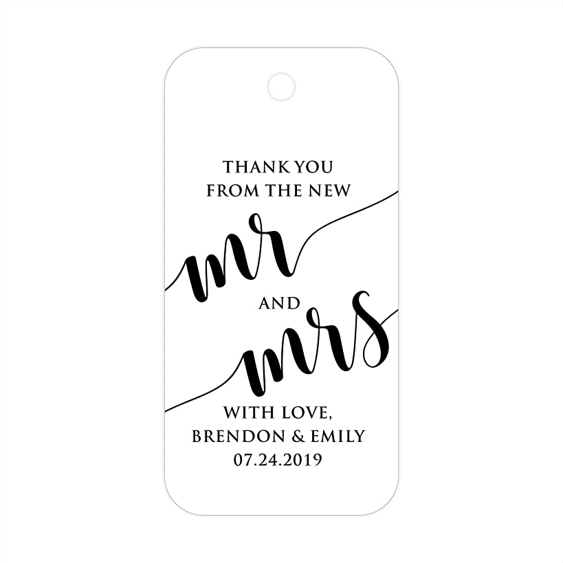 Thank You From the New Mr & Mrs Custom Personalized Wedding Gift Party Favor Tags - 30 ct