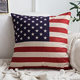 MIULEE American Flag Pillow Cover for July 4th Independence Day and Flag Day Decorative Stars and Stripes Square Solid Throw Pillow Case Patriotic Cushion Cover 18x18 Inch