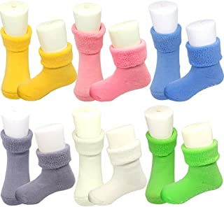 Baby Thick Socks, Toddler Terry Turn Cuff Warm Cotton Socks with Grips (6 Pairs)
