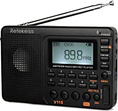 Retekess V115 Portable AM FM Radio with Shortwave Radio MP3 Player Digital Record Support TF Card Sleep Timer and Recharge...