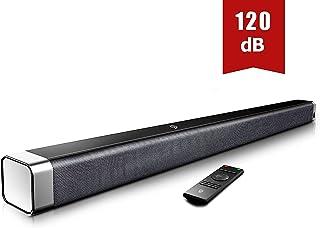 Barra de Sonido 2.0 Canales Potencia 120dB BOMAKER Tecnología DSP Subwoofer Incorporado + Bluetooth 5.0 para TV Soporta Óptico 35 mm Audio AUX USB para Cine en Casa ODINE I Negro-Gris