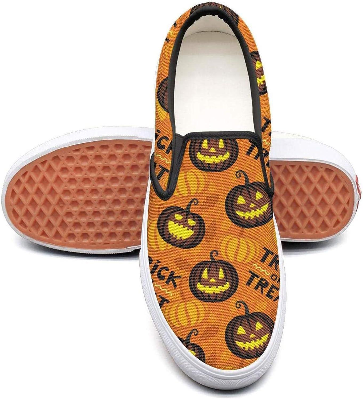 Sernfinjdr Women's Gemmy Halloween Pumpkin Fashion Casual Canvas Slip on shoes Cute Cycling Sneakers