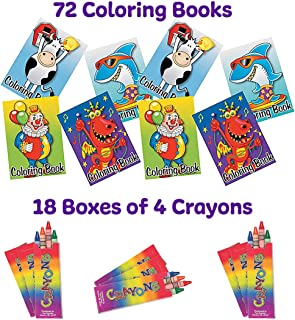 72 Coloring Books and Crayons (72-4 Each Boxes)| Activities for Children. Party Favors and Fun Activity Sets for Car Trip...