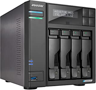 Asustor Lockerstor 4 AS6604T 4 Bay Diskless NAS, Intel Quad Core 2.0GHz CPU, 4GB RAM DDR4, M.2 NVMe SSD Caching, Network A...