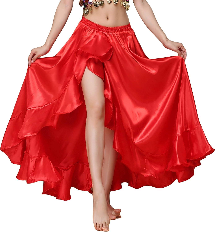 MUNAFIE Belly Dance Skirt Satin Split Side Long Skirts for Women
