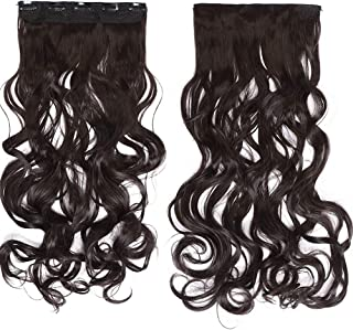 S-noilite 29 30 Inches Curly Straight One Piece Clip in Hair Extensions Black Brown Blonde Clip Ins Hairpiece(29