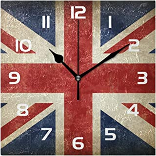 TropicalLife Wall Clock Vintage UK Flags Union Jack Flag Decorative Square Clock Non Ticking Art Decor for Bedroom Living Room Kitchen Bathroom Office School