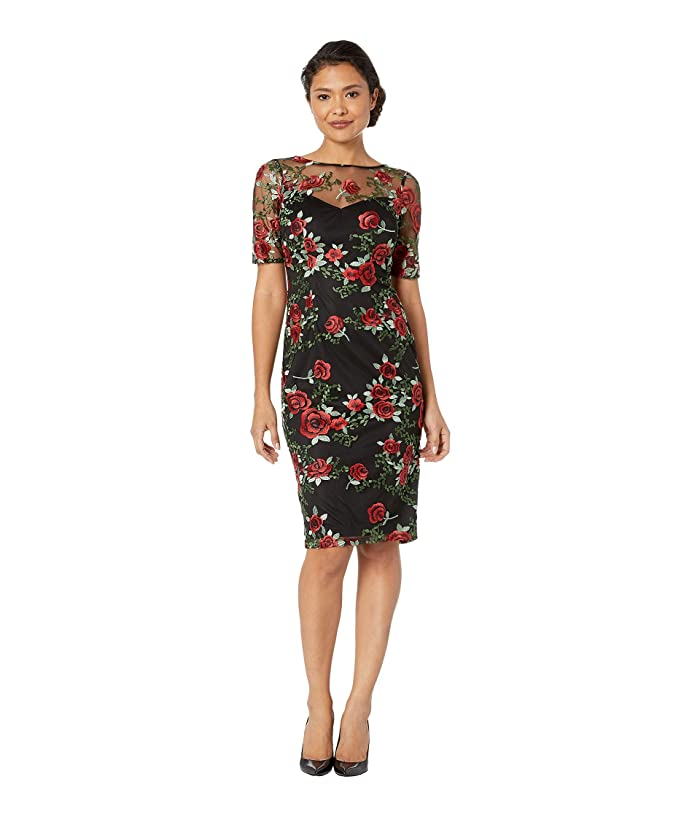 Adrianna Papell Falling Roses Embroidered Sheath Dress (Black Multi) Women