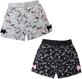 子供服 女の子 ショート パンツ ボトム ウエストゴム 総柄 リボン装飾 ロゴプリント 女児 キッズ