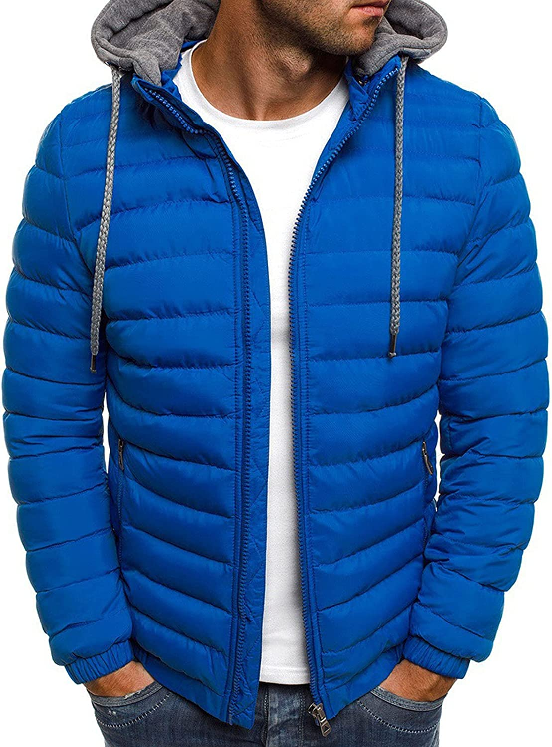 Directly managed store goowrom Men's Winter Down Jacket Solid Sleeve Zi Long Color Full New Shipping Free Shipping