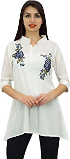 Phagun Women's 3/4 Sleeve Shirt Cotton Modal Rose Embroidered Tunic Top