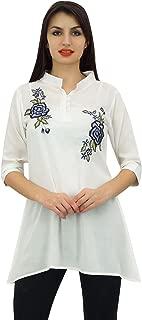 Phagun Women's 3/4 Sleeve Shirt Cotton Modal Rose Embroidered Tunic Top