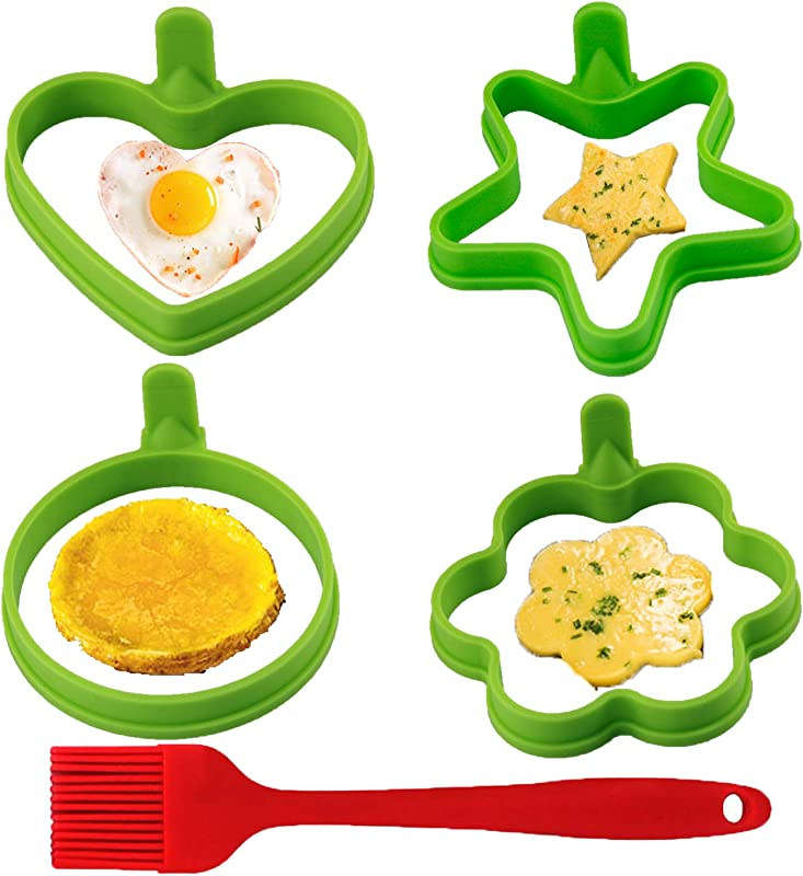 Eokeanon Nonstick Silicone Egg Rings Egg Cooking Rings Egg Poacher Perfect Fried Egg Mold Different Shapes Of Heart Round Star Flower 4 Pack New Egg Ring With 1pc Silicone Pastry Brush