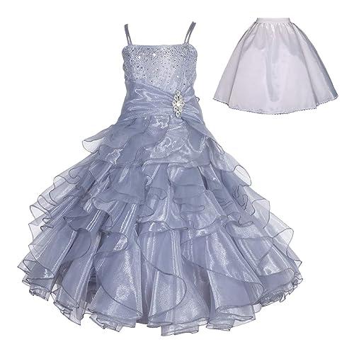 6ad1a2faf ekidsbridal Elegant Stunning Rhinestone Organza Pleated Ruffled Flower Girl  Dress Wedding Free Petticoat 164s