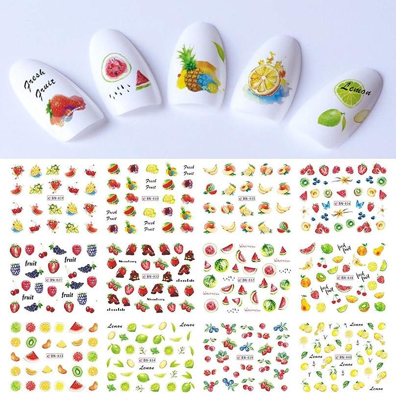 あるに対応する留まる12パターン 春 夏 果物 いちご ウォーターシール ネイルステッカー ネイルアート デコ