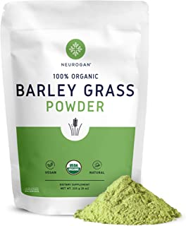 NEUROGAN Organic Barley Grass Powder (8oz 225 Grams) Rich in Antioxidants, Chlorophyll, Enzymes, Fiber, Protein - Supports...