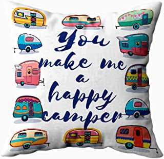 Musesh My Pillow Case Throw Pillows, You Make Me Happy Happy Card Camper Card. Camper for Sofa Home Decorative Pillowcase 16X16Inch Pillow Covers