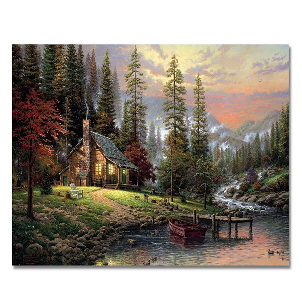 LIUDAO Paint by Numbers for Adults Kids - DIY Full Set of Assorted Color Oil Painting Kit and Brush Accessories - Forest Cabin 16x20 inch Without Frame