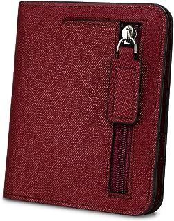 [ヤラックス]YALUXE レディース RFID ブロッキング 小さい コンパクト レザー ウォレット ミニ 財布 ID ウィンドウ クロス レッド