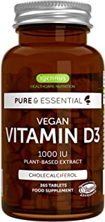 Sponsored Ad - Pure & Essential Vegan Vitamin D3 1000IU, 365 Tablets, Natural Cholecalciferol from Lichen
