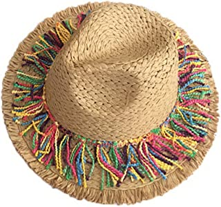 Straw Hat Beach Hat Round Cap Summer Shade Sunscreen Tassel Cap Women,Khaki