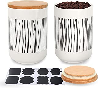 Fecihor 2 PCS Ceramic Food Storage Jars Strong Seal Damp-proof Scratch Resistance White Kitchen Ceramic Storage Canister with Bamboo Lid Cover for Tea Coffee Nuts Honey Condiment 500ML/17oz