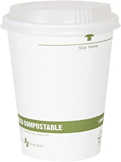 World Centric 100% Biodegradable, 100% Compostable Paper PLA-Lined 16 Ounce White Coffee Hot Cup and Lid Combo, 50 Pack
