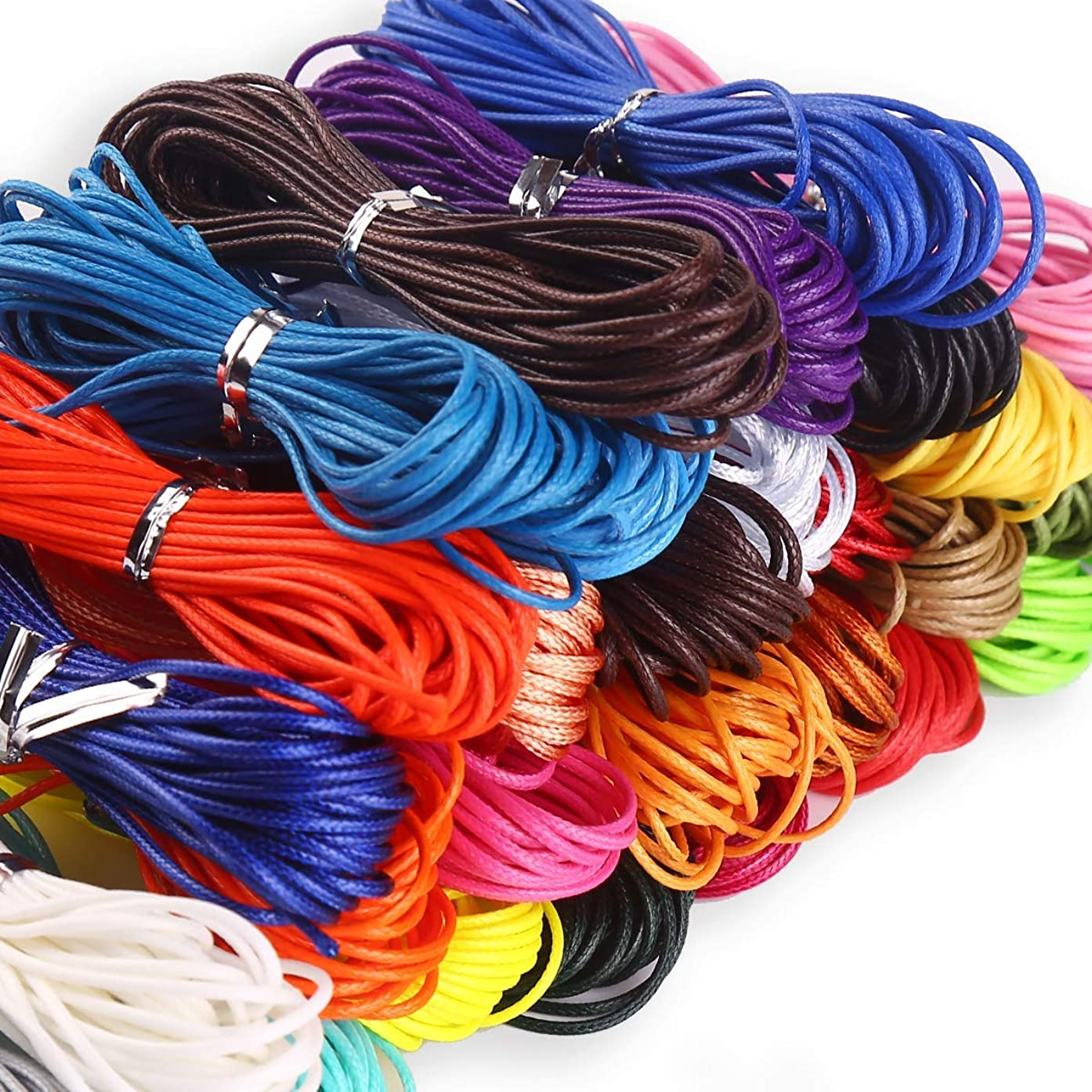 1mm Waxed Cord String Non Stretch Thread for Jewelry Craft Making, Hang Tags, 24 Colors 120 Meters/ 131 Yards