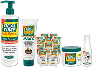 Real Time Pain Relief Family Convenience Package, Pain Cream, MAXX Relief, Foot Cream, Pet Spray, 30 Travel Packets