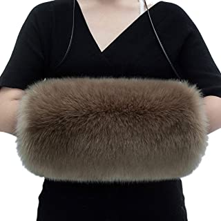 ROYAL WIND Hand Muffs Fur Fox Hair Women Warm Faux Fur Hand Warmer Pouch with Fur Lining