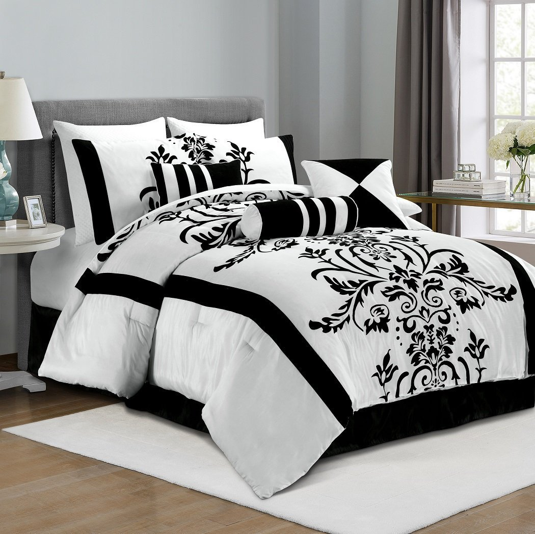6dceeebb7a2 black and white bedding amazon comchezmoi collection 7 piece white with  black floral flocking comforter set