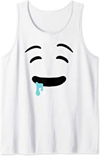Drooling Emojis Face Easy Lazy Ghost Halloween Costume Tank Top