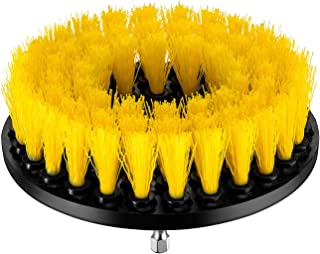 YIJINSHENG 1 Piece Medium and Stiff Brush with Drill Attachment Scrubbing Brushes for Cleaning Car Tires,Carpet, Kitchens,Bathrooms, Showers, Tubs, Boats Power Scrubber (1 Piece Yellow)