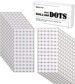 SMLSTYE 468 Pcs (234 Pairs) Dots with Adhesive 0.59 Inch Diameter Hook and Loop Nylon Sticky Back Coins, Adhesive Strips F...