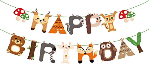 CC HOME Woodland Creature Birthday Party Supplies,Woodland Happy Birthday Banner,Forest Friend Animal Party Supplies,Woodland Animal Garland Bunting Banner for Boys ,Girls ,Camping ,Woodland Theme Baby Shower ,Forest Friend Animal Birthday Party Supplies Favor