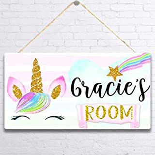 MUPIANLX Personalised Rainbow Unicorn Face Door Sign &...
