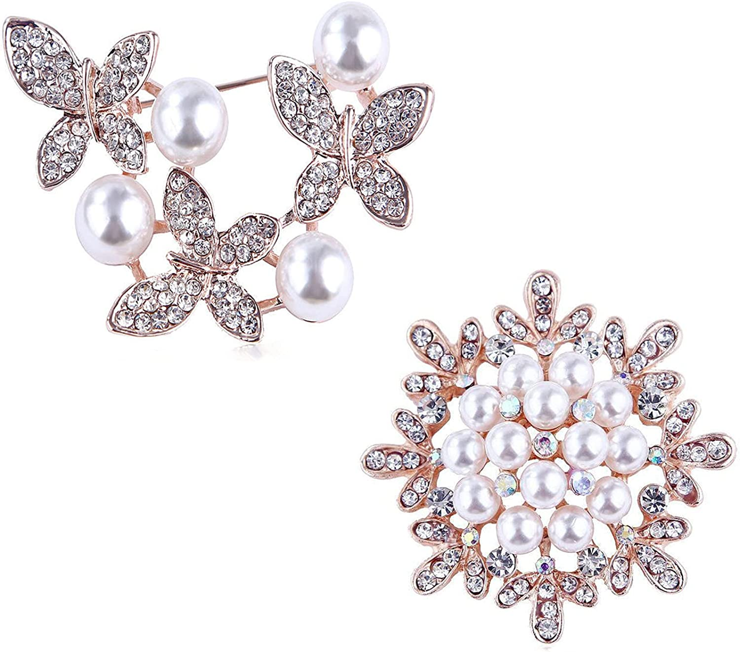 Rhinestone Brooches Pins for Women OHOME Ranking Credence TOP1 Crystal 2pcs Pearl Girl