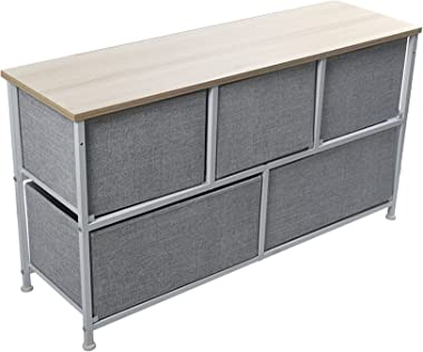 TINVHY 2-Tier Beige Storage Cabinet Drawer Dresser,Storage Unit with 5 Easy Pull Fabric Drawers and Metal Frame, Cloth Handle