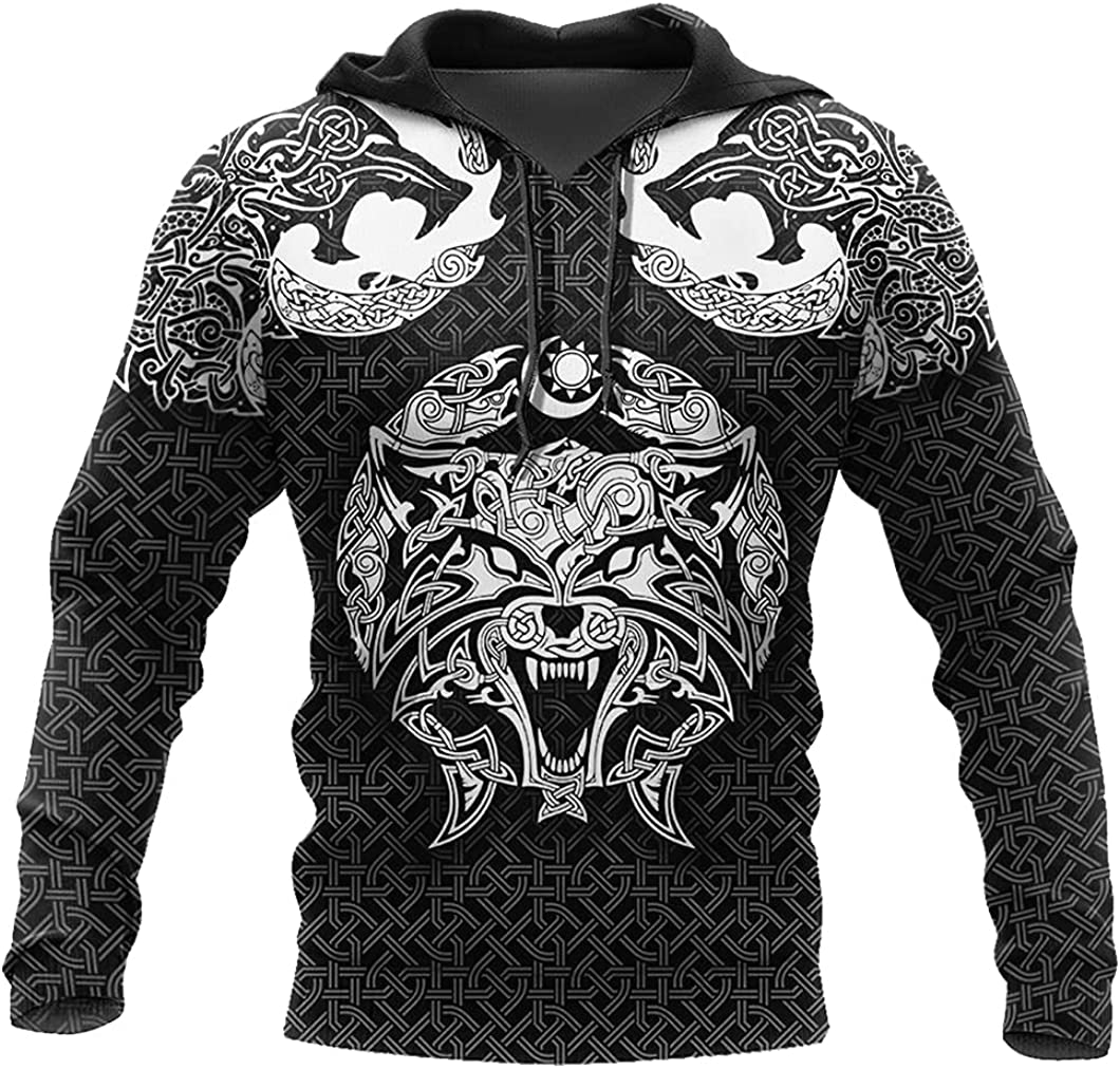 Fenrir Wolf Sweatshirt Casual Loose 3D Print Vikings Tattoos Hoodie Autumn Norse Myth Harajuku Men Long Sleeve Jacket