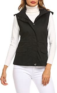 Pasttry Women's Zip up Drawstring Sleeveless Anorak Jacket Military Utility Vest w/Pockets
