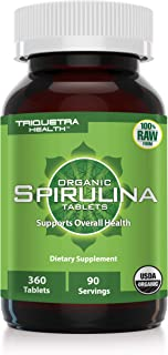 Organic Spirulina Tablets - Purest Spirulina in World, Guarenteed - Raw Certified, 4 Organic Certifications, Non-Irradiated, Highest Nutrient Density (360 Tablets) 90 Servings