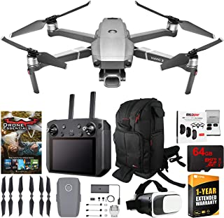 DJI Mavic 2 Pro Drone with Hasselblad Camera Smart Controller Essential Go Bundle with Backpack, Filter Kit, VR FPV Goggles, High Speed 64GB SDXC Card, Software Pack and 1 Year Warranty Extension