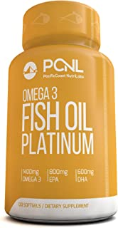 PacificCoast NutriLabs 2000mg Fish Oil, 1,400mg Omega 3, 800mg EPA, 600mg DHA, Free Ebook, 120 Count