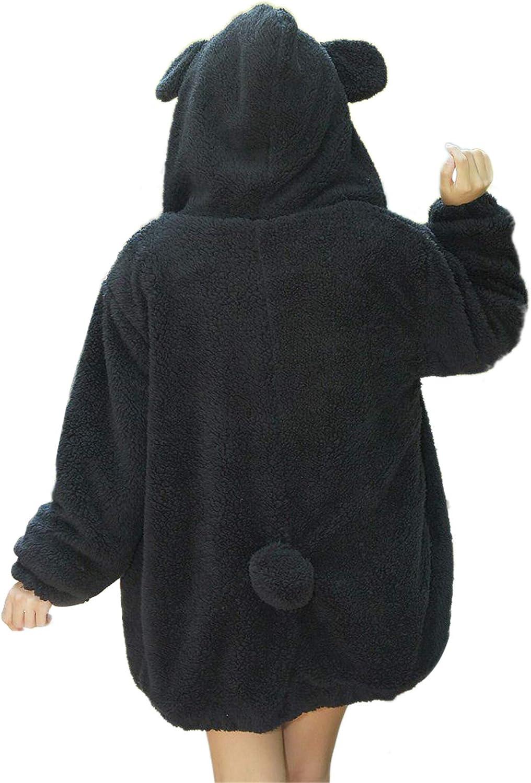 OMZIN Women's Zip Up Faux Shearling Fluffy Hooded Teddy Jacket Coat with Pockets